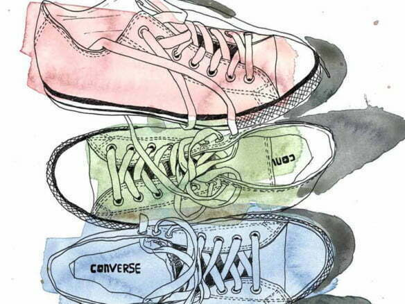 2D Brands Illustration Converse Trainers