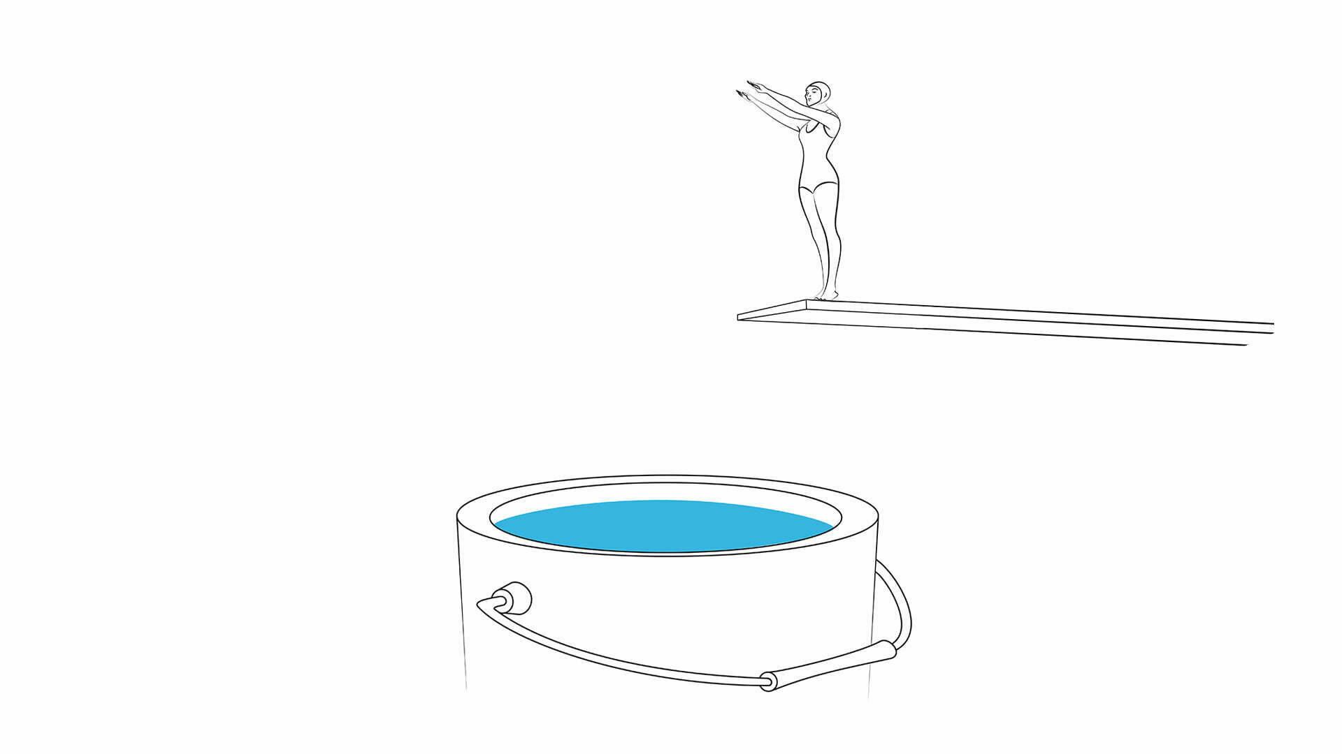 2D Illustration Line Art Paint Diving