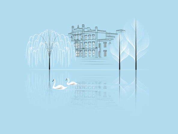 2D Illustration Line Art Elvaston Castle