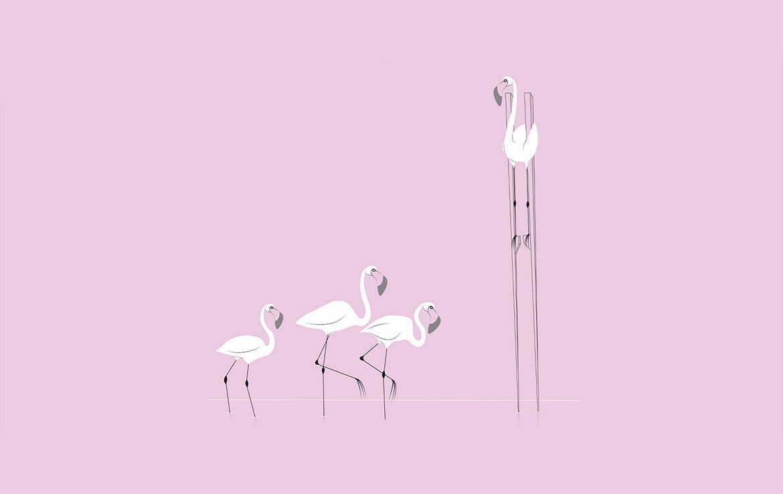 2D Illustration Social Distancing Flamingo