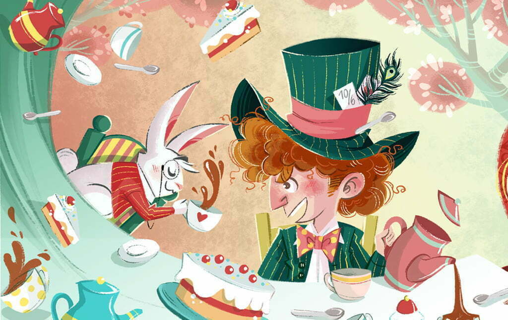 2D Alice In Wonderland Tea Time Illustration