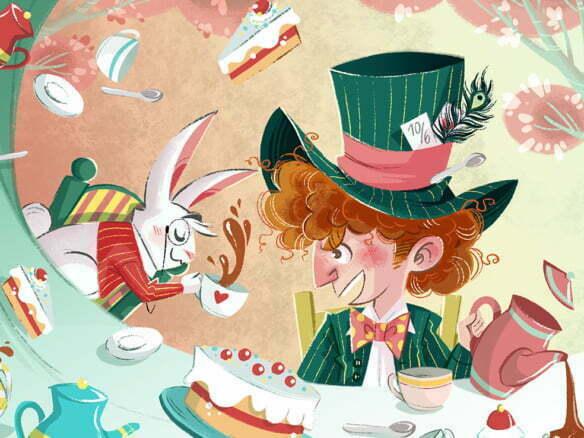 2D Alice In Wonderland Tea Time Illustration