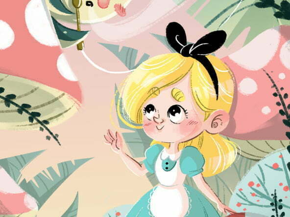 2D Alice in Wonderland Caterpillar Illustration