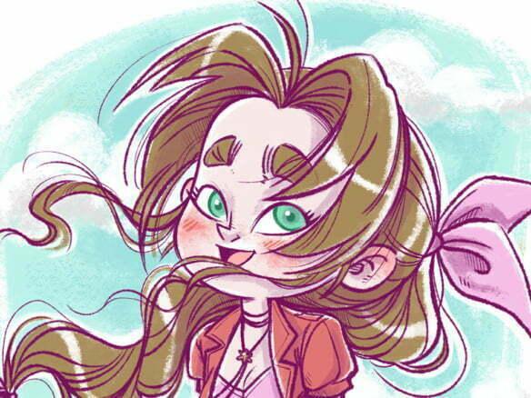 2D Character Flower Girl Illustration