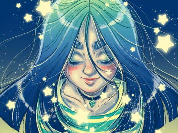 2D Character Girl Stars Illustration