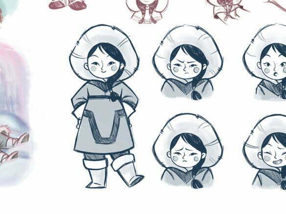 2D Character Inuit Girl Poses Illustration