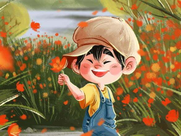 2D Japanese Child Poppy Illustration