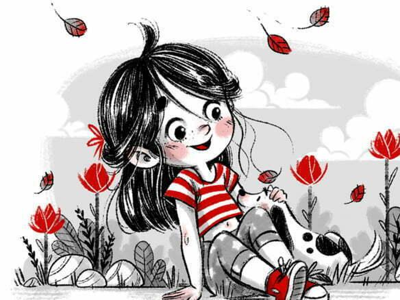 2D Little Girl Character Poses Illustration