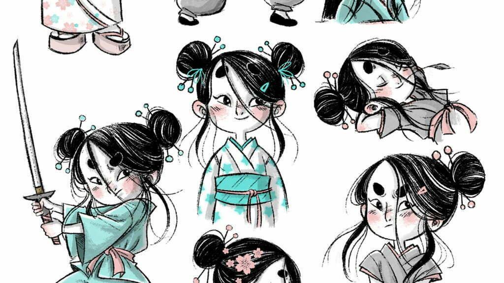 2D Samurai Girl Character Poses Illustration