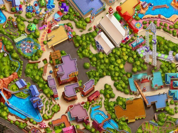 Georeferenced theme parks map illustration