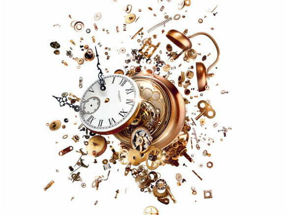 realistic 2D illustration of clock exploding