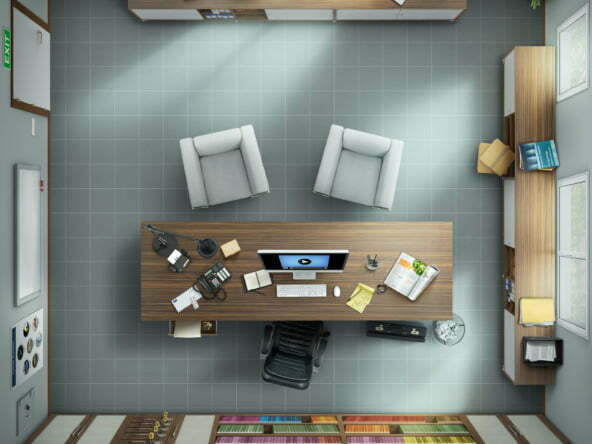 3D style 2d illustration advertising architecture
