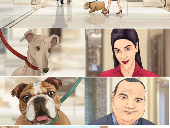 Illustrated storyboard in colour for Trivago